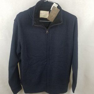 NEW Weatherproof Navy  Zip Sherpa Sweater Jacket